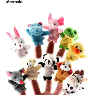 💖10Pcs Mini Cartoon Animals Family Finger Puppets Doll Baby Educational Toy