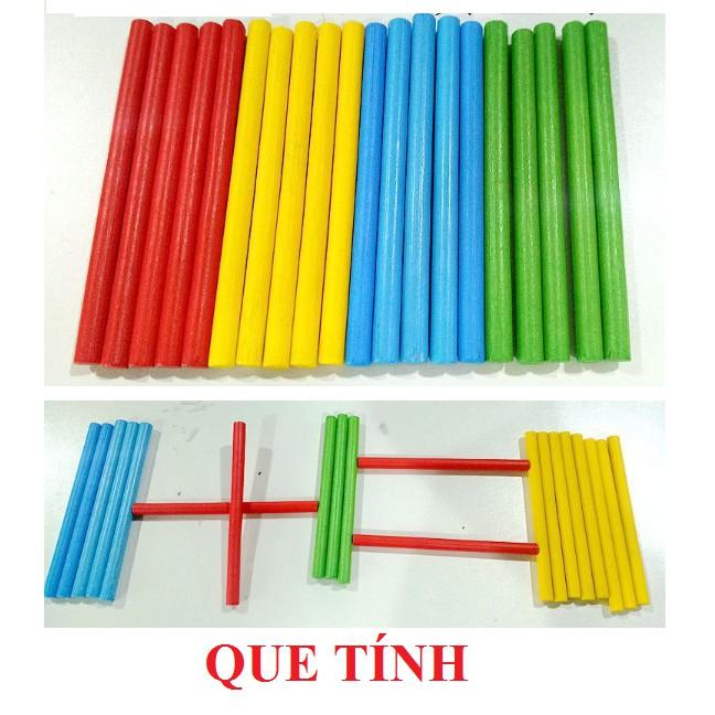 Que tính gỗ - Sét 100 que 4 màu - Đồ chơi giáo dục cho bé