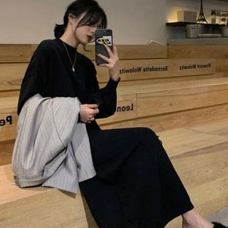 Áo len đen váy dệt kim của phụ nữ 2020 mùa thu đông mới phong cách Hàn Quốc khí chất cổ tròn đáy dài quá gối