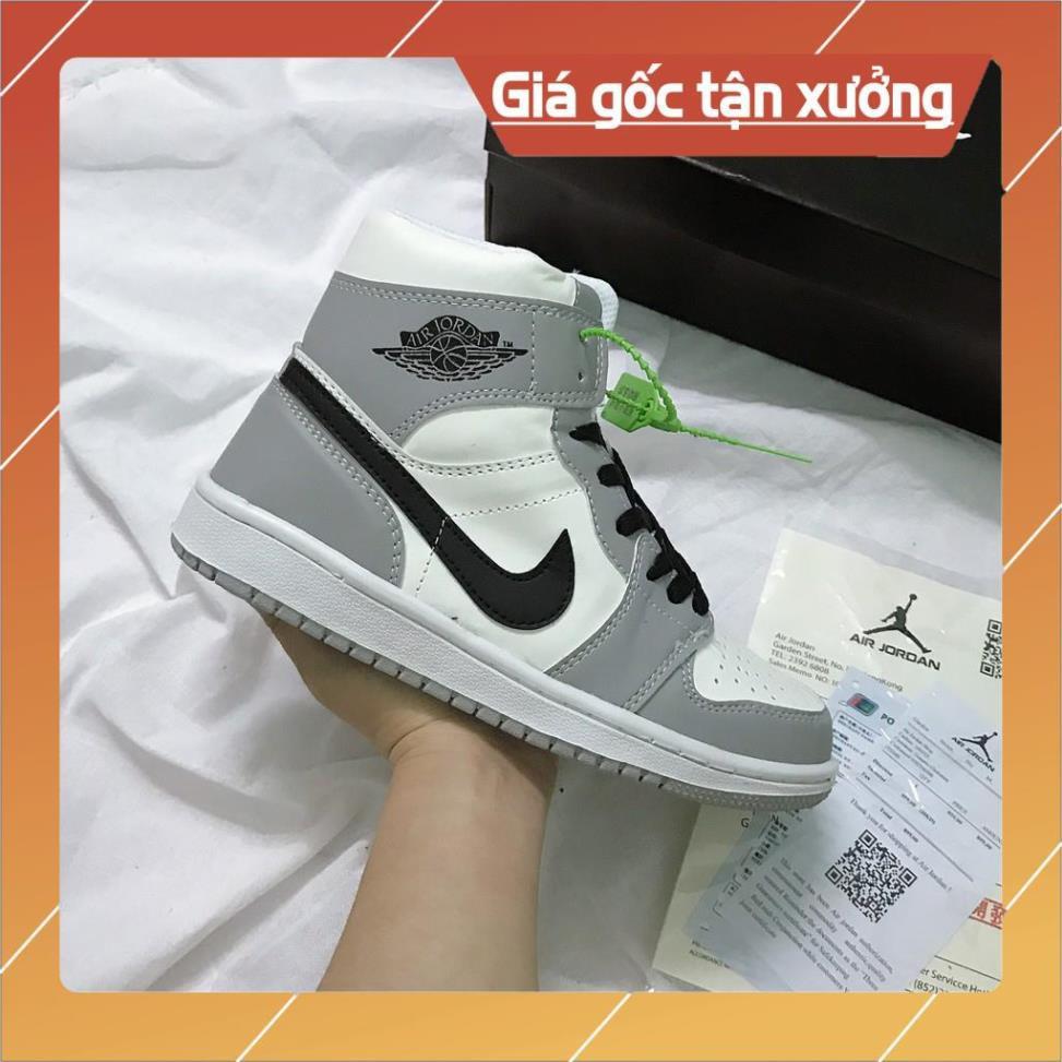 Giày Jordan 1, Giày Thể Thao JD1 Cao Cổ Màu Xám Đế Khâu Da Trơn Nhẵn Cao Cấp Full Size (36-43)