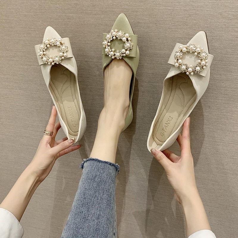 Giày đế mềm mũi nhọn đính hạt ngọc trai xinh xắn thời trang thanh lịch cho nữ