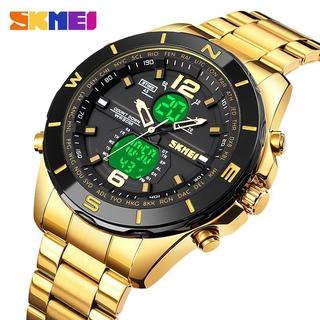 Đồng hồ nam SKMEI 1670 Quartz  đôi màn hình điện tử LED đếm ngược  thể thao bằng thép không gỉ