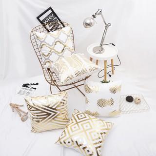 Yêu Thích[ĐẸP XỊN] Vỏ gối vuông sofa, áo gối tựa lưng chất cotton size 45*45cm phong cách ánh kim hoàng gia sang trọng