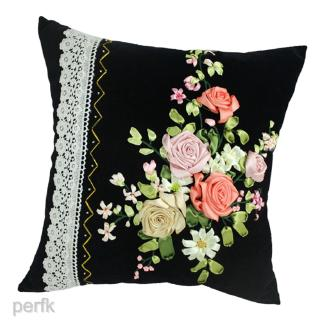 Ribbon Embroidery Pillow Kit Velvet Pillow Cover Embroidery Material Hand Craft