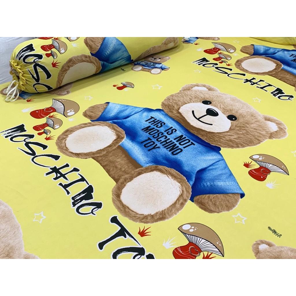 Bộ drap ga thun lạnh Hàn Quốc (4 món) họa tiết gấu bông chất đẹp, mịn mát