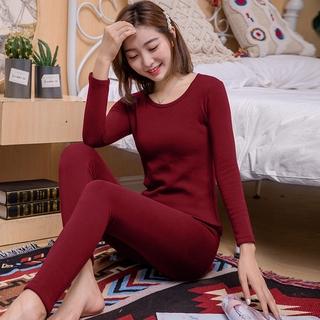 Bộ Đồ Lót Hai Món Bằng Vải Cotton Phối Nhung Dày Giữ Ấm Mùa Thu Đông Cho Nữ