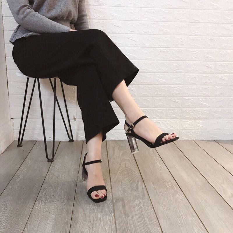 Sandal da lộn gót phối màu cao 9p