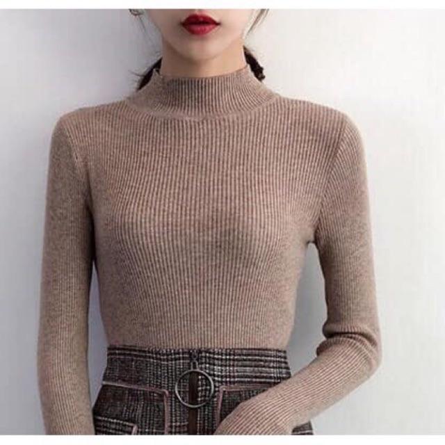 Áo len nữ -Áo len tăm có cổ chất đẹp [ảnh thật