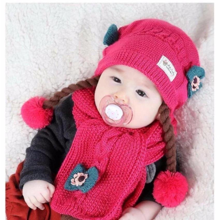 Bộ Mũ và khăn len có tóc giả cho bé gái (ảnh thật)