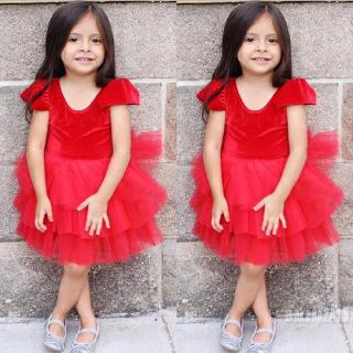Mu♫-New Toddler Baby Girl Christmas Dress Pageant Party One Piece Sleeveless Layered Tulle Skirt