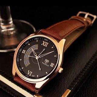 Đồng hồ nam Yazole dây da viền Vàng với 3 kim chỉ giây độc đáo + Tặng hộp đồng hồ sang trọng (Đỏ và đen) thumbnail