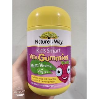 (date T11 2021) Kẹo dẻo Kids Smart Vita Gummies Multi Vitamin & Vegies Nature s Way, 60 viên, bổ sung vitamin và rau quả thumbnail