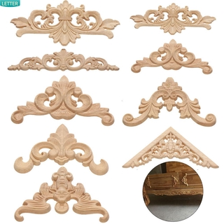 LETTER High Quality wooden Figurines Crafts Unique Woodcarving Decorative Wood Carved Furniture Parts Natural Floral Multi-styles Wall Door Decoration Corner Appliques Frame