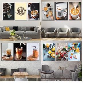 Yêu ThíchBộ 3 tranh treo tường trang trí quán cà phê - kèm khung tranh cao cấp - tăng kèm đinh đa năng 3 chân không khoan tường
