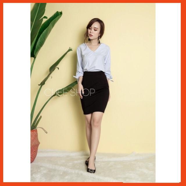 Chân váy công sở bút chì xẻ sau vải umi Hàn ( có khóa sau )