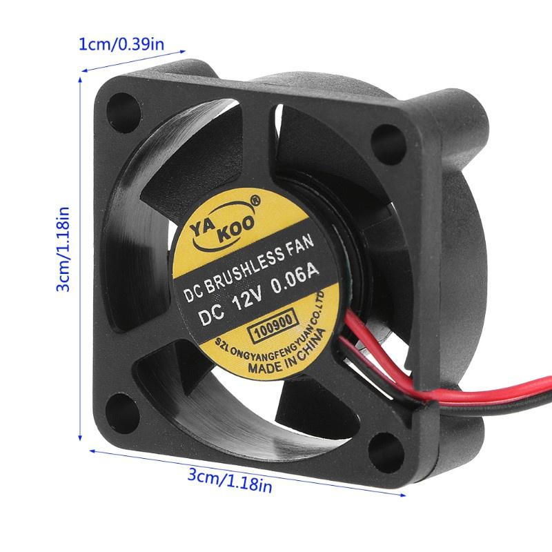 Quạt Tản Nhiệt Không Chổi Than Dc 12v 0.13a 2-pin 30x30 X 10mm Cho Cpu Pc 3010