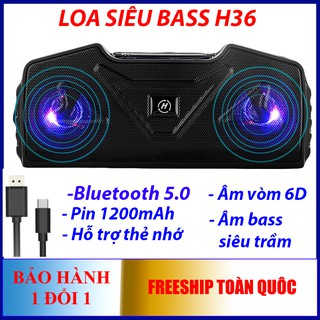 Loa bluetooth 5.0 âm thành vồm 6D TWS H36