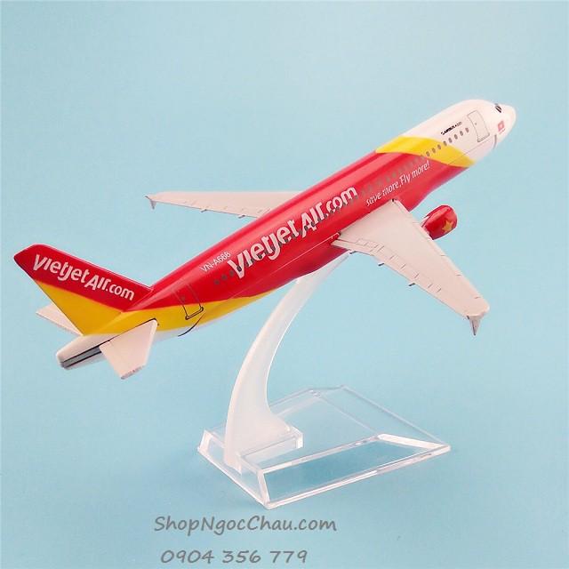 [Nhập mã TOYVUI giảm 20% tối đa 50K]Mô hình máy bay tĩnh Airbus A320 Vietjet Air 16cm