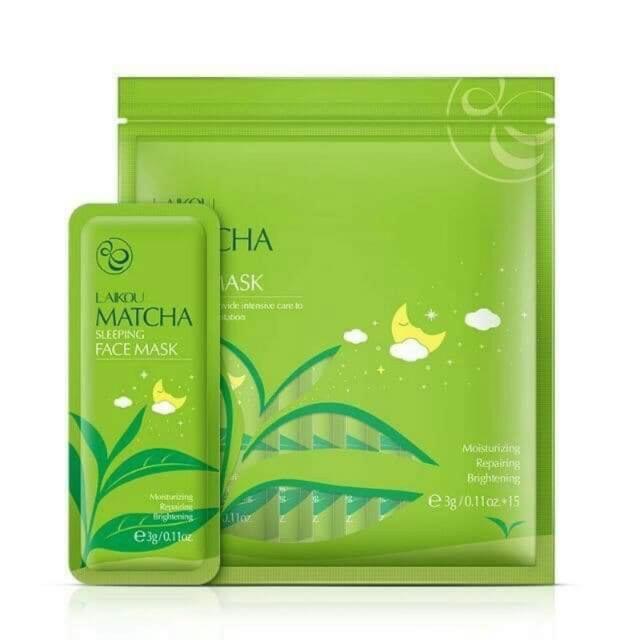[RẺ VÔ ĐỊCH] Túi 15 gói mặt nạ ngủ Matcha Mud Mask Laikou dưỡng da mụn cấp ẩm thải độc trà xanh