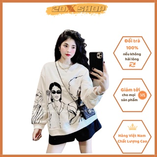 [ Có Ảnh Thật ] Áo Sweater In Hình Cô Gái Sành Điệu Chất Liệu Nỉ Cotton Siêu Xinh Hot Trend thumbnail