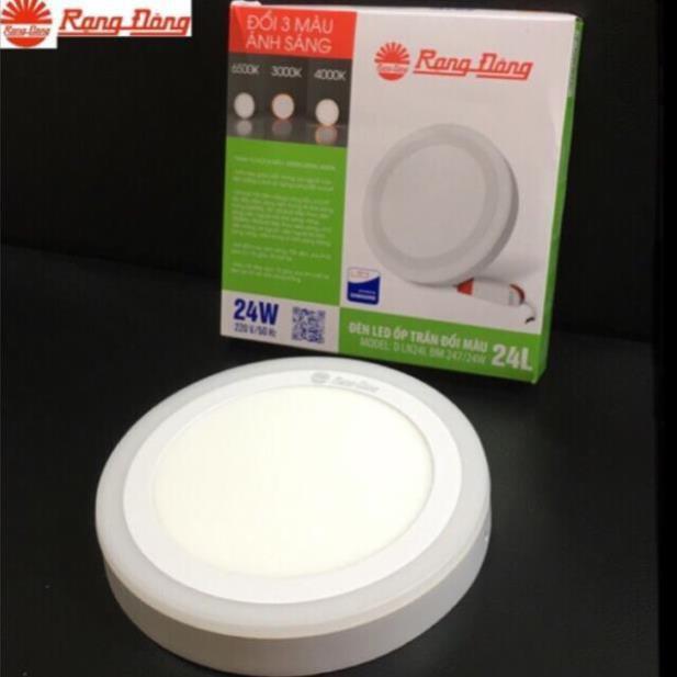 Đèn ốp trần nổi LED Rạng Đông 24W, đổi màu viền thông minh, D LN24L ĐM 247/24W, D LN24L ĐM 247x247/24W