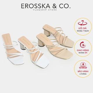 Dép cao gót Erosska thời trang mũi vuông phối dây quai mảnh cao 5cm màu vàng _ EM038