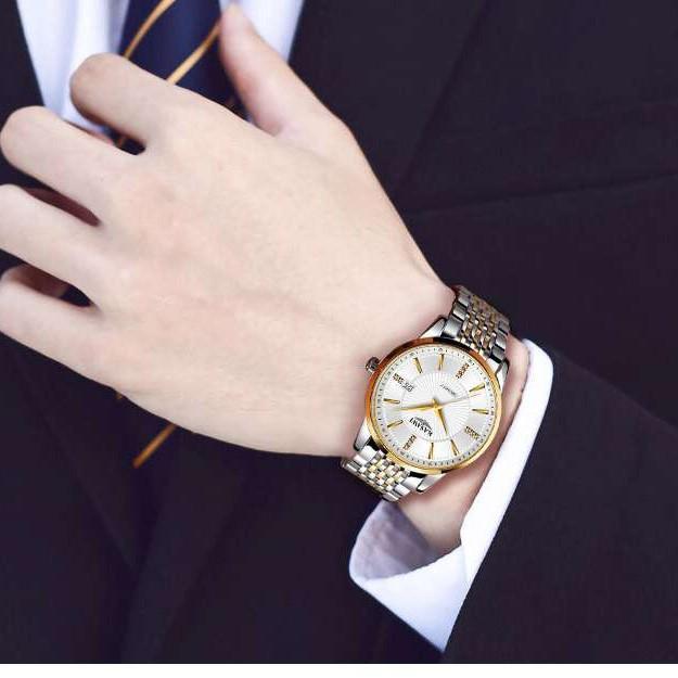 Đồng hồ nam KASAWI KA1688 Lịch ngày sang trọng mặt đính đá dây hợp kim thép không gỉ cao cấp_FULL BOX