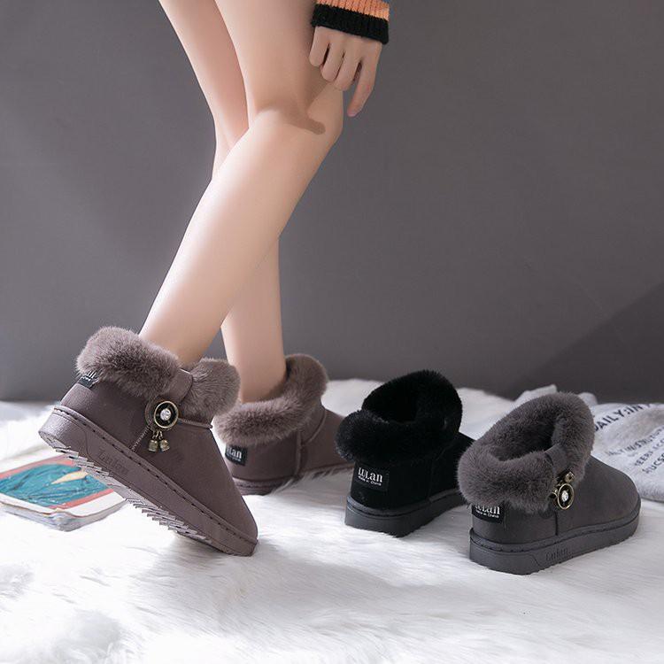 slip on women shoes\nWomen's shoes snow boots female short tube winter new Korean version plus velvet thick cotton shoes