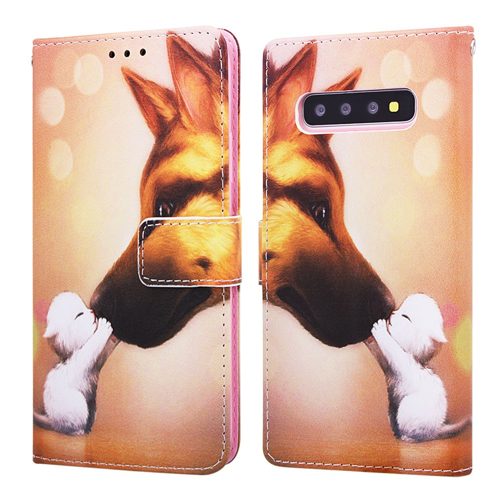 For Samsung Galaxy S10 Plus Painted Cartoon Pattern Flip Phone Leather Cover