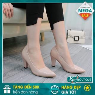 Giày Cao Gót Nữ Mũi Nhọn Dáng Siêu Đẹp Gót Trụ Cao 9CM - Chất Da Bóng Sang Trọng CG268/69