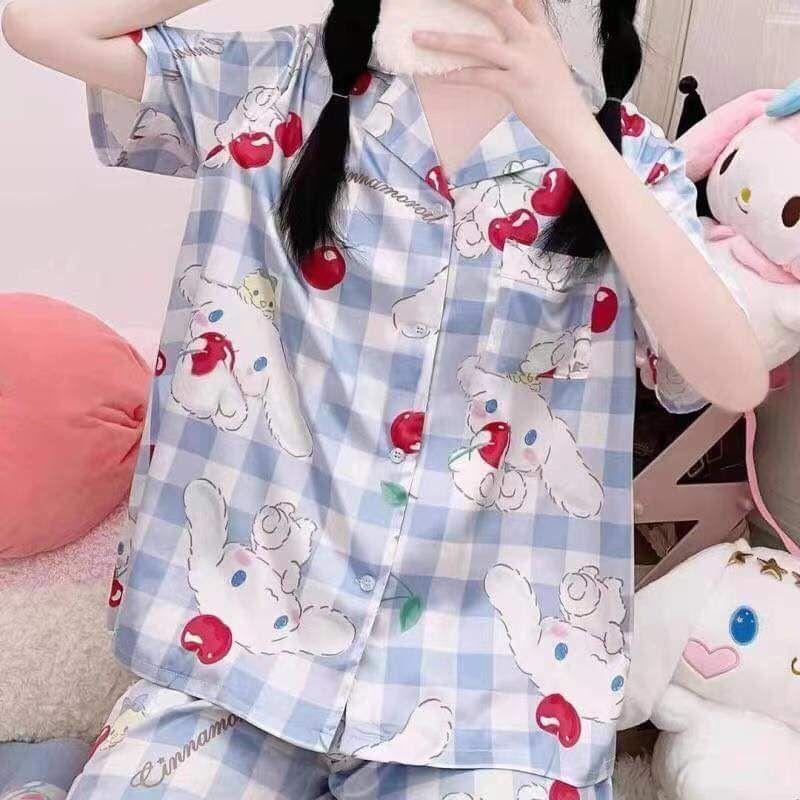 set đồ bộ ngủ/ Bộ đồ ngủ cotton sọc caro xanh hình cinnamoroll cherry cực xinh