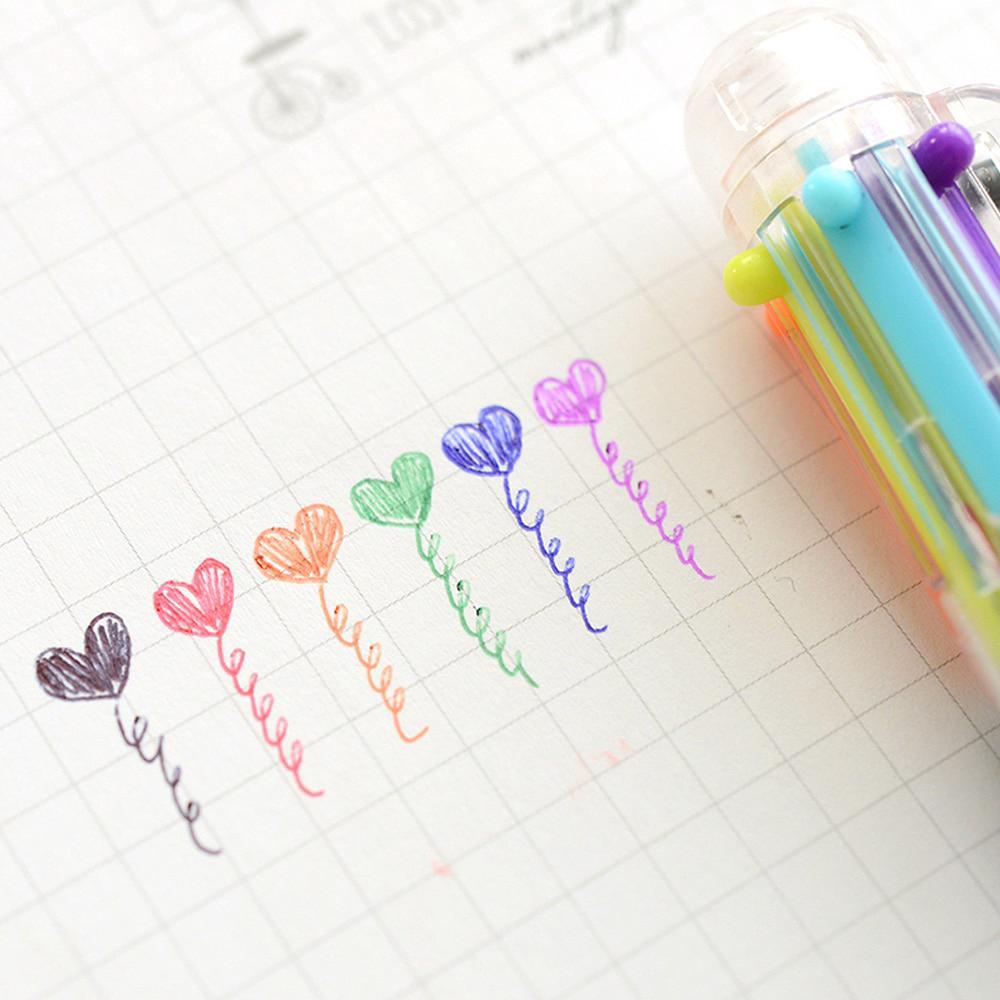 Bút bi nhiều màu thiết kế 6 trong 1 hoặc 8 trong 1 ngòi 0.5mm tiện dụng 2