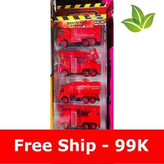 [Ưu Đãi Khủng] Bộ ô tô cứu hỏa (set 5c) làm bằng sắt