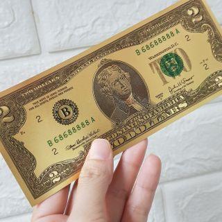 Combo 10 tờ 2 USD Mạ Vàng Plastic (2 Đô) Lì Xì Tết