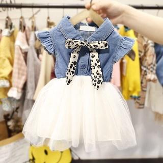 Girls Summer1-3The Age of Children's Dress Baby's Dress2020New Western Style Princess2Female Baby Denim Skirt