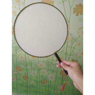 (HOT)Quạt tròn cổ trang, vải lụa trắng 21cm