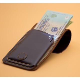Ví sen 3, da bò thật, ví mini cầm tay cho nam và nữ đựng tiền và thẻ, bh 24 tháng 1 đổi 1