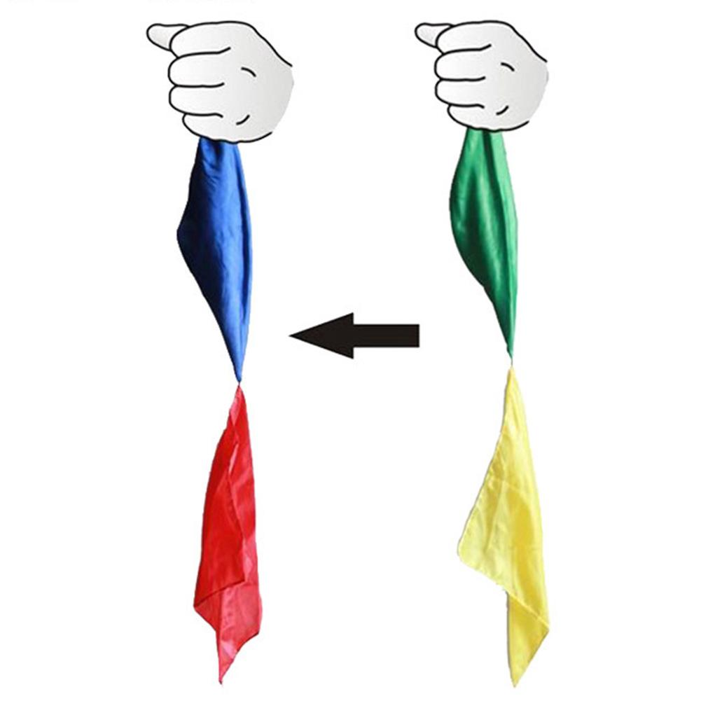 70cm Length Color Change Adult Stage Silk Scarf Four-color Funny Novelty Magic Props Children Trick Toy