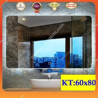 gương chữ nhật đèn led cảm ứng phá sương treo phòng tắm cao cấp kích thước 60×80 cm – guonghoangkim mirror