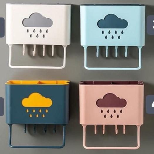 Hộp đựng đũa thìa gắn tường, kệ nhựa cắm đồ đa năng hình đám mây giá cạnh  tranh