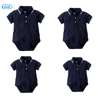 Children's Short-Sleeved Shirt Boy Lapel Stripe Triple-cornered Crawl Baby Jumpsuit Short Sleeved Jumpsuit Jumpsuit 70