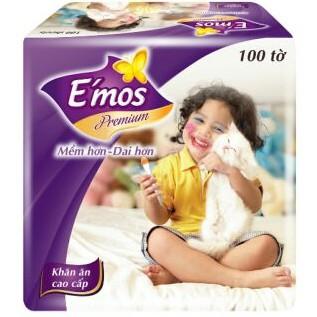 Khăn Giấy Vuông E-mos Premium gói 100 Tờ