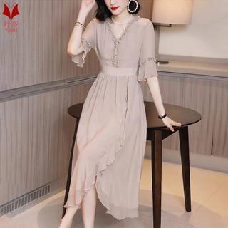 Đầm cổ v dáng dài chiết eo thiết kế bất cân xứng thanh lịch cho nữ