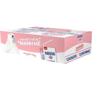 [Tặng kèm hộp bút chì+bút lông kim] Thùng 48 hộp sữa tiệt trùng hương dâu trắng Nestlé NutriStrong 180ml