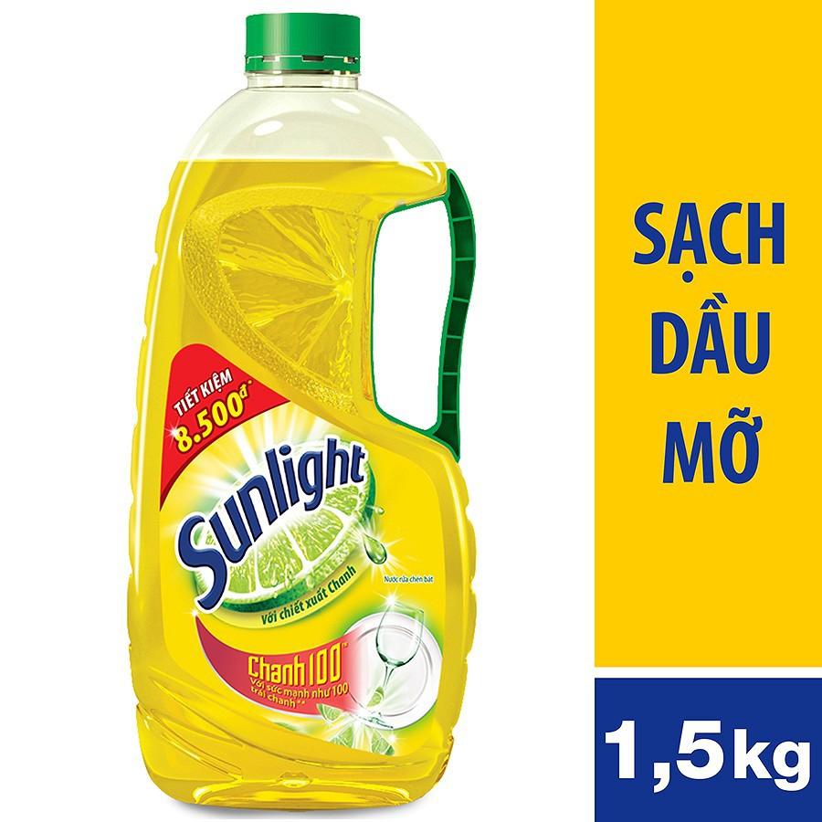 Nước rửa chén Sunlight Chanh chai 1.5kg (MSP 21120202)