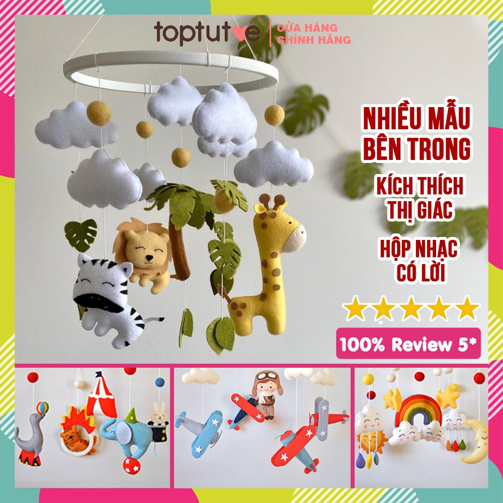 Đồ chơi treo cũi nôi xe đẩy cho bé Toptutoe xoay phát nhạc kích thích thị giác trẻ sơ sinh, trẻ nhỏ, bé trai bé gái