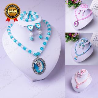 Bộ 5 vòng tay + khuyên tai + dây chuyền + nhẫn kiểu công chúa Elsa cho bé gái thumbnail