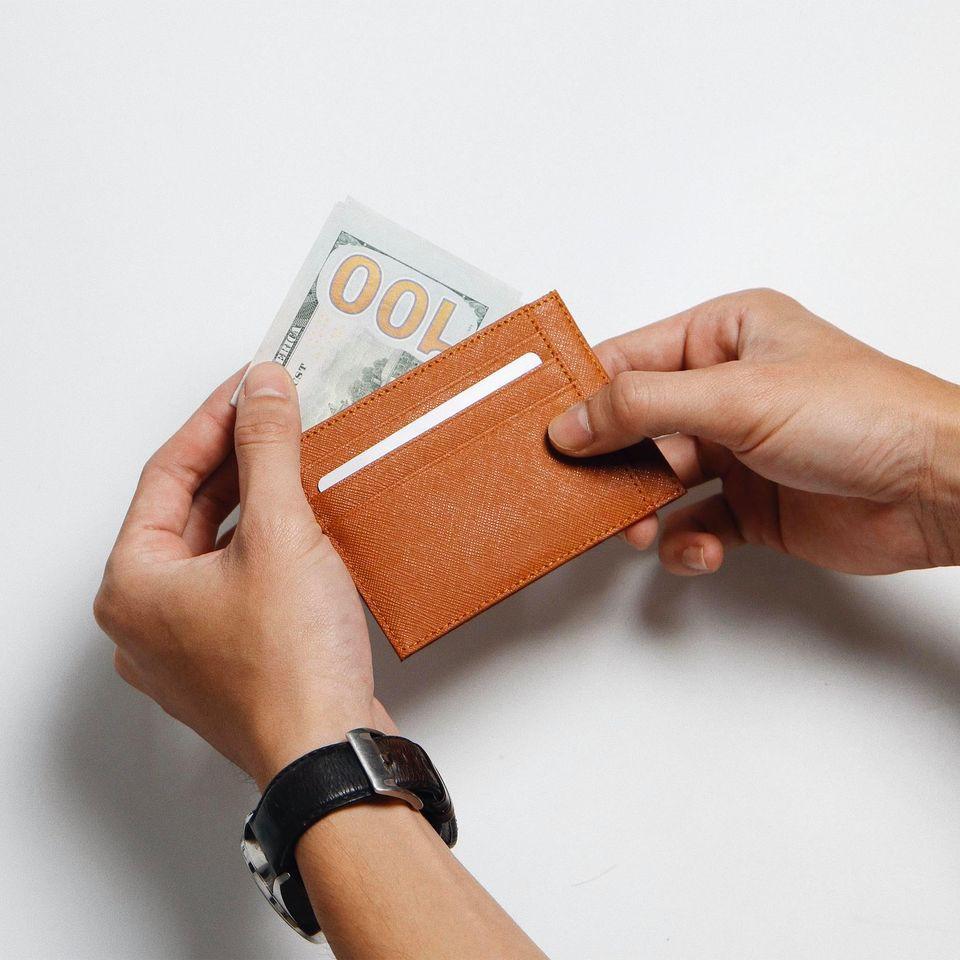 VÍ MINI ĐỰNG THẺ Bóp Cardholder ZERO Da Saffiano Nhập Khẩu Cao Cấp Chống Thấm Nước Unisex Nam Nữ