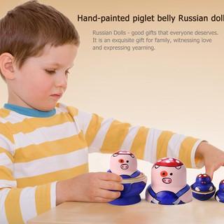 SU 10pcs Russian Matryoshka Nesting Dolls Set Basswood Hand Painted Decor Gift