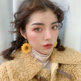 Sunflower Earrings Flower Ear Hook Yellow Big Ear Ring Korean Graceful Online Influencer Exaggerating Unique Eardrops All-Match Ear Clip